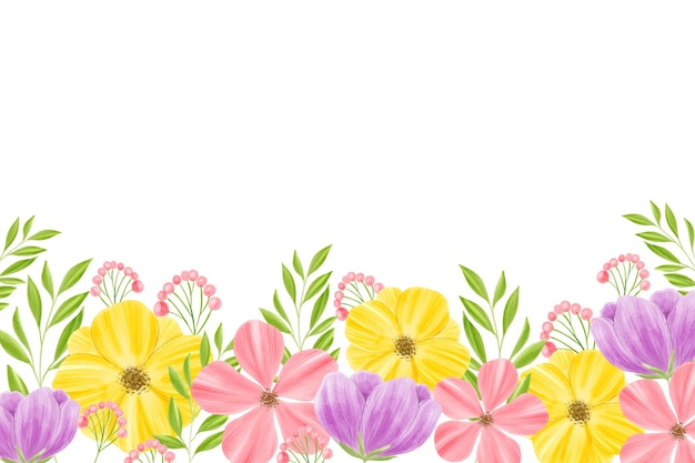 Watercolor floral background with white space