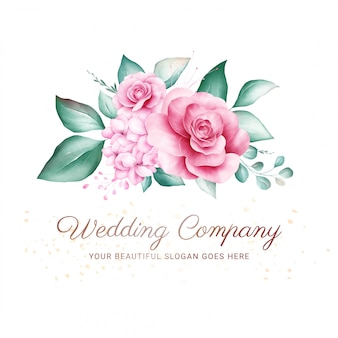 로고 또는 웨딩 카드 구성에 대 한 수채화 꽃 배지. 미리 만들어진 꽃 그림