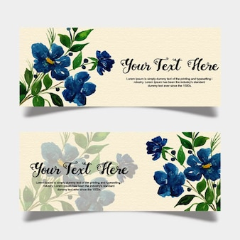Watercolor floral banner