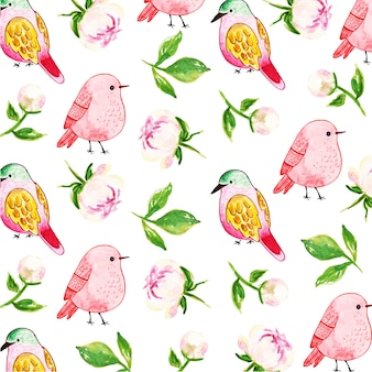 Watercolor floral & birds pattern background