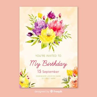 Акварельный цветочный шаблон приглашения дня рождения