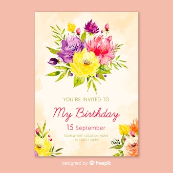 Watercolor floral birthday invitation template