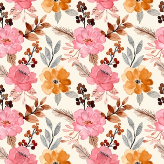 Watercolor floral bloosom seamless pattern