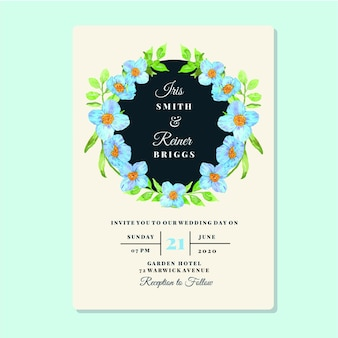 Watercolor floral blue poppy frame invitation card template