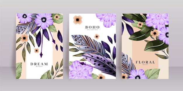 Акварельные цветочные обложки в стиле бохо