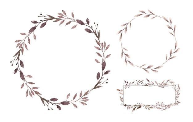 水彩花の自由奔放に生きる花輪水彩の自然なフレームミニマルな花輪
