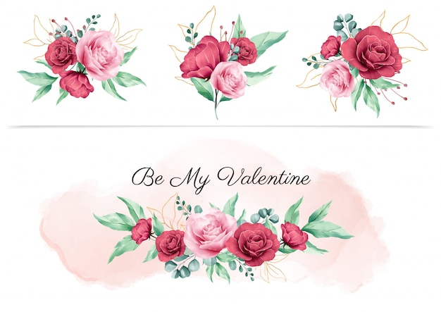 Watercolor floral boquet for valentine design elements and flowers arrangements for wedding invitation card composition vector