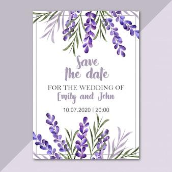 Watercolor floral border. wedding invitation card