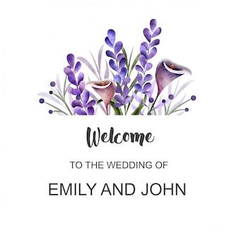 수채화 꽃 테두리입니다. 결혼식 초대 카드