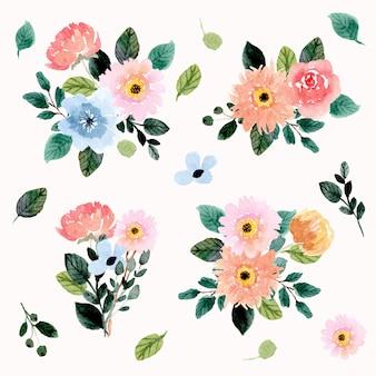 Watercolor floral bouquet collection