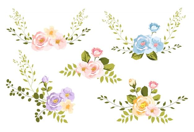 Watercolor floral bouquet for decoration