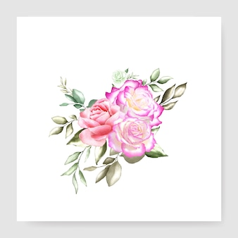 Watercolor floral bouquet design card