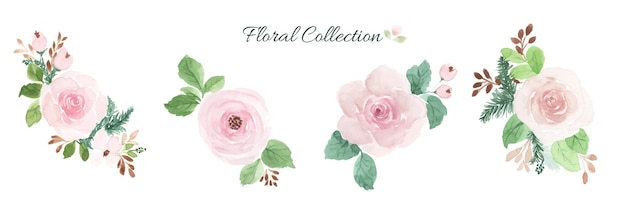 Watercolor floral bouquet design element set.
