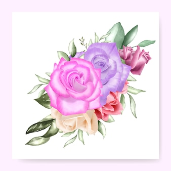 Watercolor floral bouquet design wedding card template