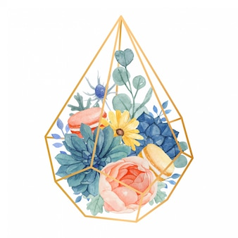 Watercolor floral bouquet in geometric gold terrarium with rose, yellow daisy. eucalyptus, dusty miller, succulent and macaroons