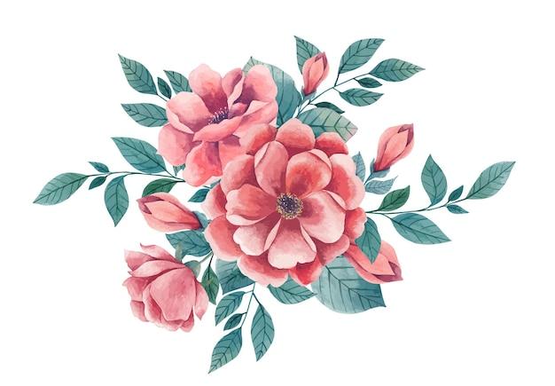 수채화 꽃 꽃다발 고립 된 그림