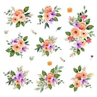 수채화 꽃 꽃다발 모란 장미 봄