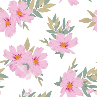 Watercolor floral bouquet seamless pattern