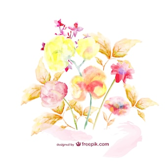 Watercolor floral bouquet template