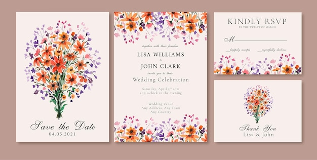 오렌지와 보라색 꽃 결혼식 초대 카드와 수채화 꽃 꽃다발