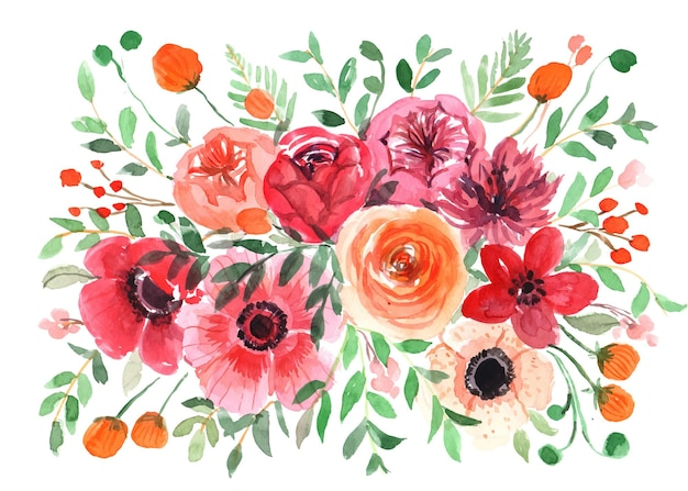 Watercolor floral bouquet with rose and poppy blooms