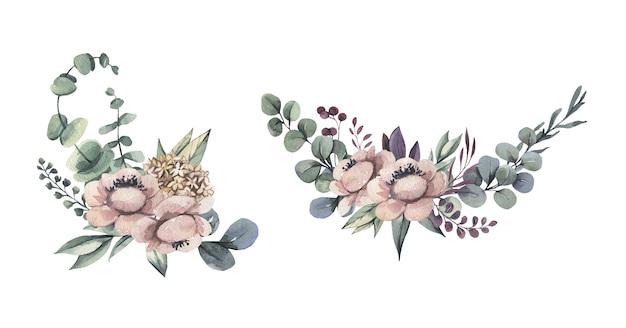 水彩花の花束。