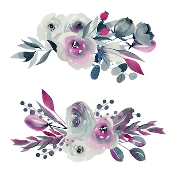 Watercolor floral bouquets illustrations, indigo and crimson roses
