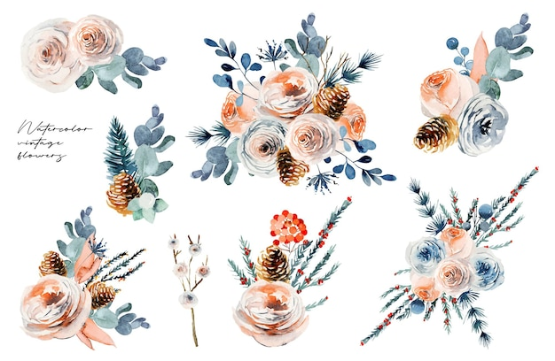 Watercolor floral bouquets set, vintage flower compositions of white and pink roses, eucalyptus and fir branches