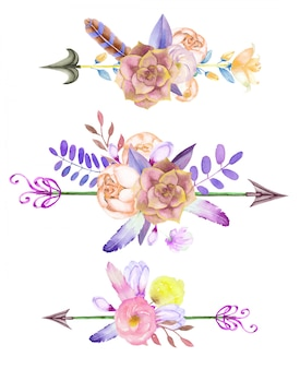 Watercolor floral bouquets with arrows