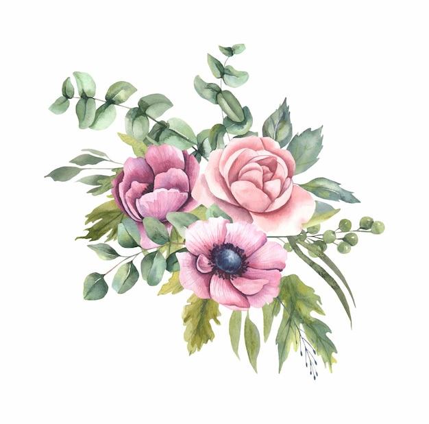 Акварельные цветочные букеты с цветами.