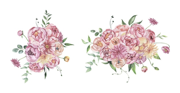 Watercolor floral bouquets.