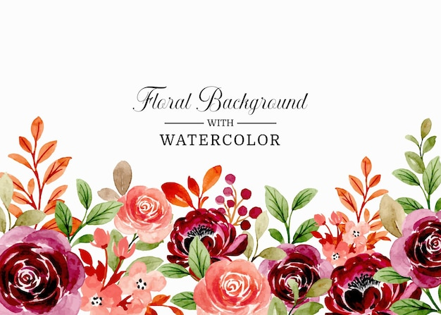 Watercolor floral burgundy peach blossoms