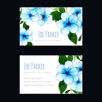 Watercolor floral business card 2