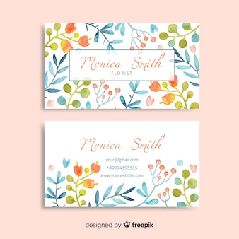 Watercolor floral business card template