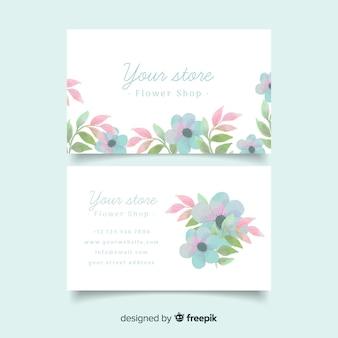 명함 템플릿-수채화 꽃