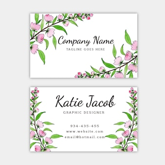 Watercolor floral business card
