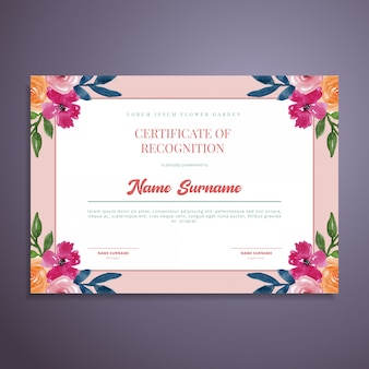 Watercolor floral certificate template design