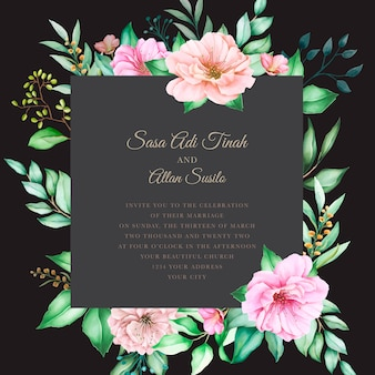 Watercolor floral cherry blossom frame