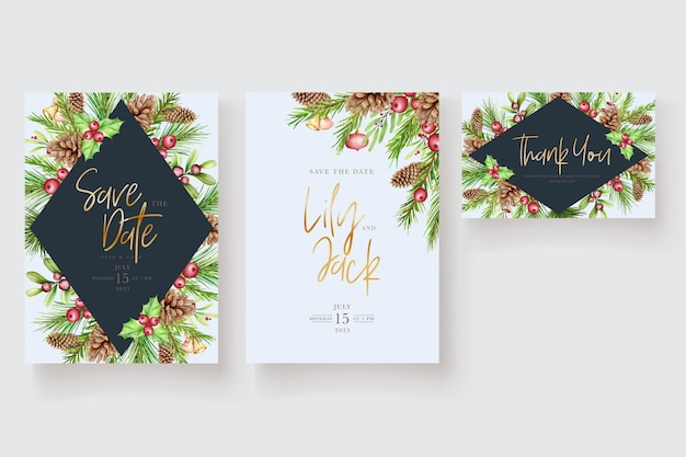 Watercolor floral christmas invitation card