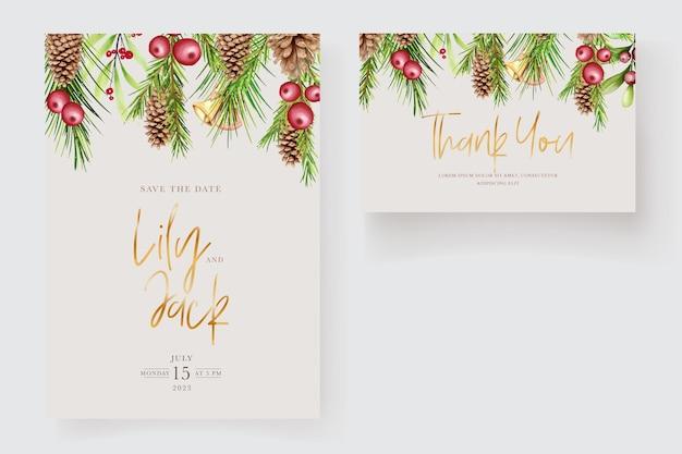 수채화 꽃 크리스마스 초대 카드