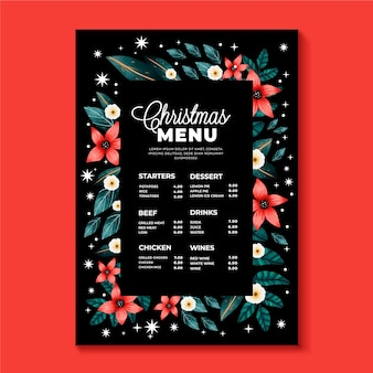 Watercolor floral christmas menu template