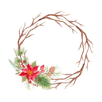 Watercolor floral christmas round frame