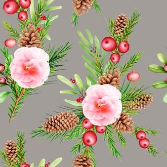수채화 꽃 크리스마스 원활한 패턴