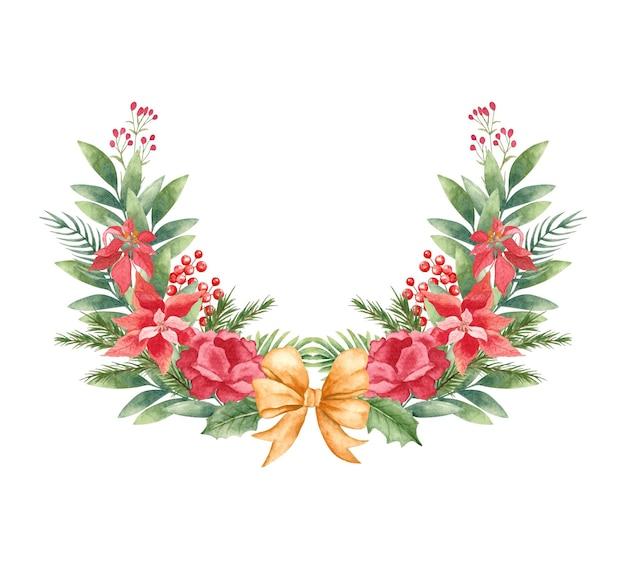 Watercolor floral christmas wreath with golden bow
