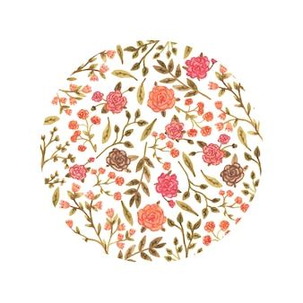 Watercolor floral circle in a romantic style.