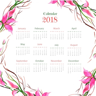 Watercolor floral colorful 2018 calender
