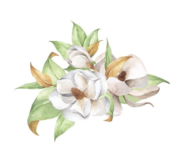 수채화 꽃 조성. 목련, 부드러운 꽃다발.