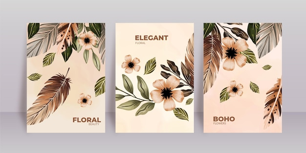 Watercolor floral covers pack
