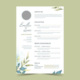 Watercolor floral cv template