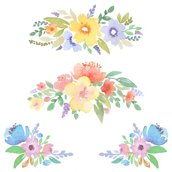 Watercolor floral decor for cards and invitations design